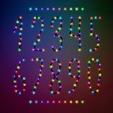 Номер вектора установленный от светов рождества Стоковые Фото