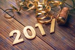 номер 2017 год деревянный стоковое изображение