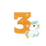 Номер годовщины дня рождения с милым единорогом бесплатная иллюстрация