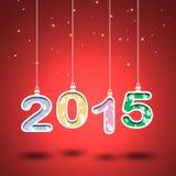номер 2015 год с красной предпосылкой Отрежьте бумагу Стоковые Изображения