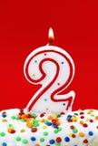 номер два свечки дня рождения Стоковое Изображение