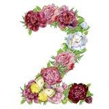 Номер два цветков акварели иллюстрация штока
