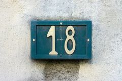 номер дома 18 стоковые изображения rf