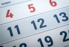 11, номер 12 календарей переведите четверг Стоковые Фотографии RF