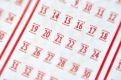 Номер маркировки на билете лотереи Стоковая Фотография RF