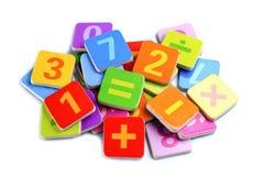 Номер математики красочный на белой предпосылке стоковые изображения
