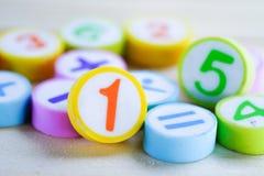 Номер математики красочный на белой предпосылке стоковые фото
