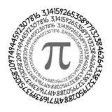 Номер математически константы символа Pi нерациональный на круге, греческом письме бесплатная иллюстрация
