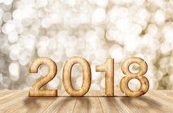 номер 2018 Новых Годов деревянный в комнате перспективы с сверкная bok Стоковые Изображения