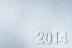 номер 2014 Новых Годов на предпосылке снежка Стоковое Изображение