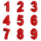 Номер от 1 до 9 в красном цвете Стоковое Изображение
