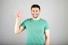 Номер показа человека пальцами Стоковое Изображение RF