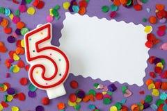 номер свечки 5 дня рождения Стоковое фото RF