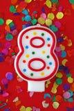 номер свечки 8 дня рождения Стоковая Фотография RF