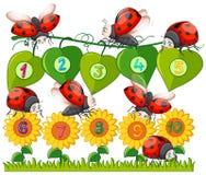 Номер с Ladybug и цветком иллюстрация вектора