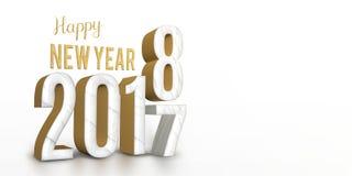 Номер текстуры мрамора и золота года 2017 изменяет до 2018 Новых Годов Стоковое Изображение