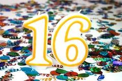 номер торжества 16 свечек Стоковые Фотографии RF