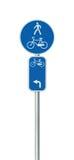 Номер трассы велосипеда, задействовать и пешеходный дорожный знак майны, большой детальный изолированный вертикальный велосипед ц Стоковые Изображения