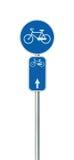 Номер трассы велосипеда и задействуя дорожный знак майны, большой детальный изолированный вертикальный крупный план, сеть велосип Стоковые Изображения