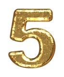 номер 5 купелей золотистый Стоковое фото RF