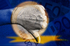 Номинальность евро вниз стоковые фото