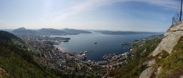 Норвегия - Берген увиденные сверху стоковые изображения rf
