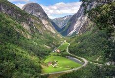 Норвежская долина в stalheim Норвегии Стоковая Фотография