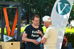 Норвежская стойка кампании Либеральной партии (v) Стоковая Фотография RF