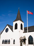 Норвежская церковь в заливе Cardiff, вэльсе Стоковая Фотография RF
