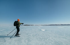 Норвежские пешие коньки Экспириментально путешествие катается на коньках для увеличиваемых отключений к льду Использованный в Рос Стоковые Изображения RF