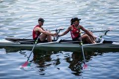 Норвежские спортсмены на rowing конкуренции чашки мира гребя Стоковое Фото