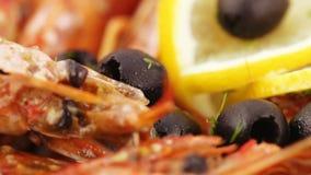 Норвежский омар с рисом сток-видео