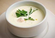 Норвежский суп с семгами Стоковые Изображения RF