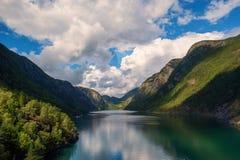 Норвежский фьорд окруженный горами покрытыми с лесами с красивым облачным небом в солнечном дне Стоковое Изображение RF