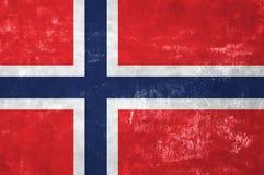Норвежский флаг на старой предпосылке текстуры Grunge Стоковая Фотография