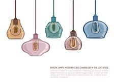 Нордическая винтажная стеклянная привесная лампа Стоковое Изображение RF