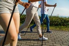 Нордическая идя тренировка семьи на взморье Стоковое Фото