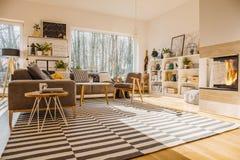 Нордический интерьер живущей комнаты стиля с striped ковром, угловым co стоковое фото