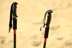 Нордический гулять ручки на песчаном пляже Стоковые Фотографии RF