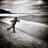 Нордический гулять Художнический взгляд в черно-белом Стоковое фото RF