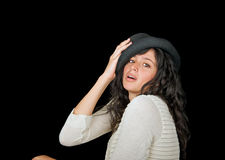 носить красивейшего шлема брюнет модельный Стоковые Фото