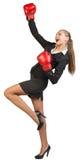 носить перчаток коммерсантки бокса Стоковое Фото