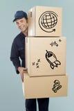 Носить работника доставляющего покупки на дом картонные коробки стоковая фотография