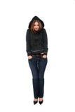 носить свитера девушки с капюшоном Стоковое фото RF