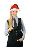 носить santa шлема стекел коммерсантки Стоковое Фото