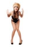 носить swimsuit шерсти крышки брюнет стоковое изображение
