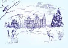 носит вектор santa ночи иллюстрации подарков claus рождества Вектор рождественской открытки нарисованный рукой Стоковые Изображения RF