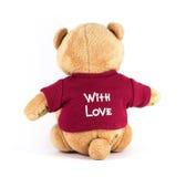 Носки задней стороны цвета ПЛЮШЕВОГО МЕДВЕЖОНКА рубашка коричневой красная с влюбленностью на whit Стоковая Фотография RF