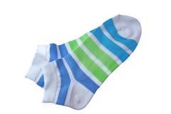 Носки пар зеленые и голубые Striped дам Стоковые Изображения RF