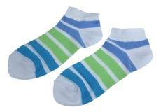 Носки пар зеленые и голубые Striped дам Стоковая Фотография RF